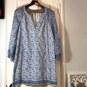 Joie lined dress with 3/4 sleeves blue flowers
